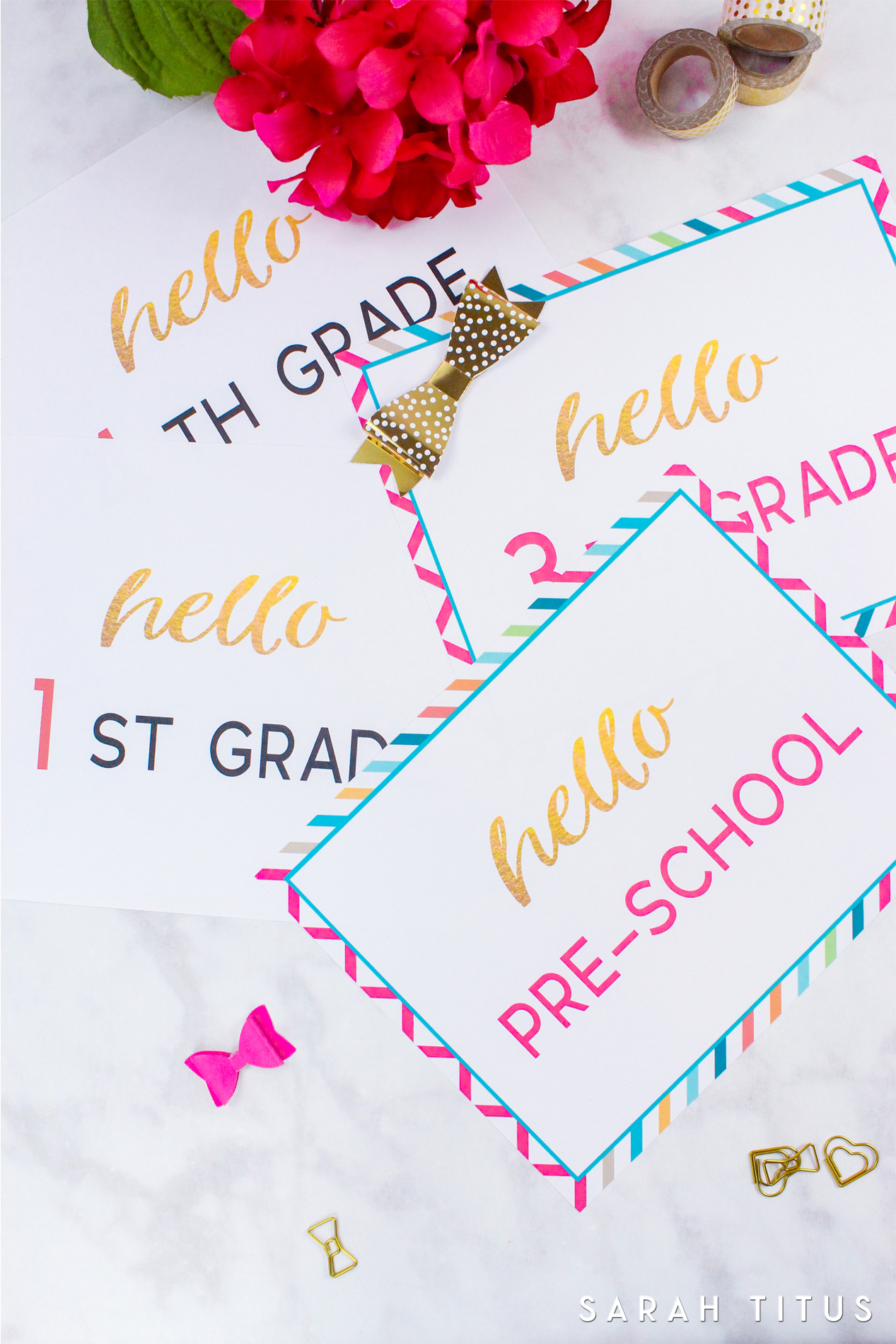 If you're tired of the same ol' chalkboard first day of school printables, you'll love this modern take!