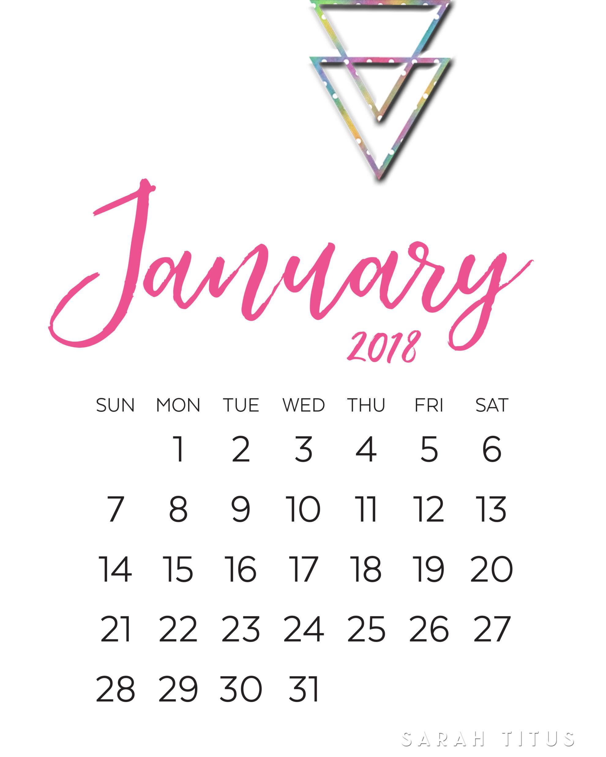 2018 Modern Monthly Calendars Printables - Sarah Titus