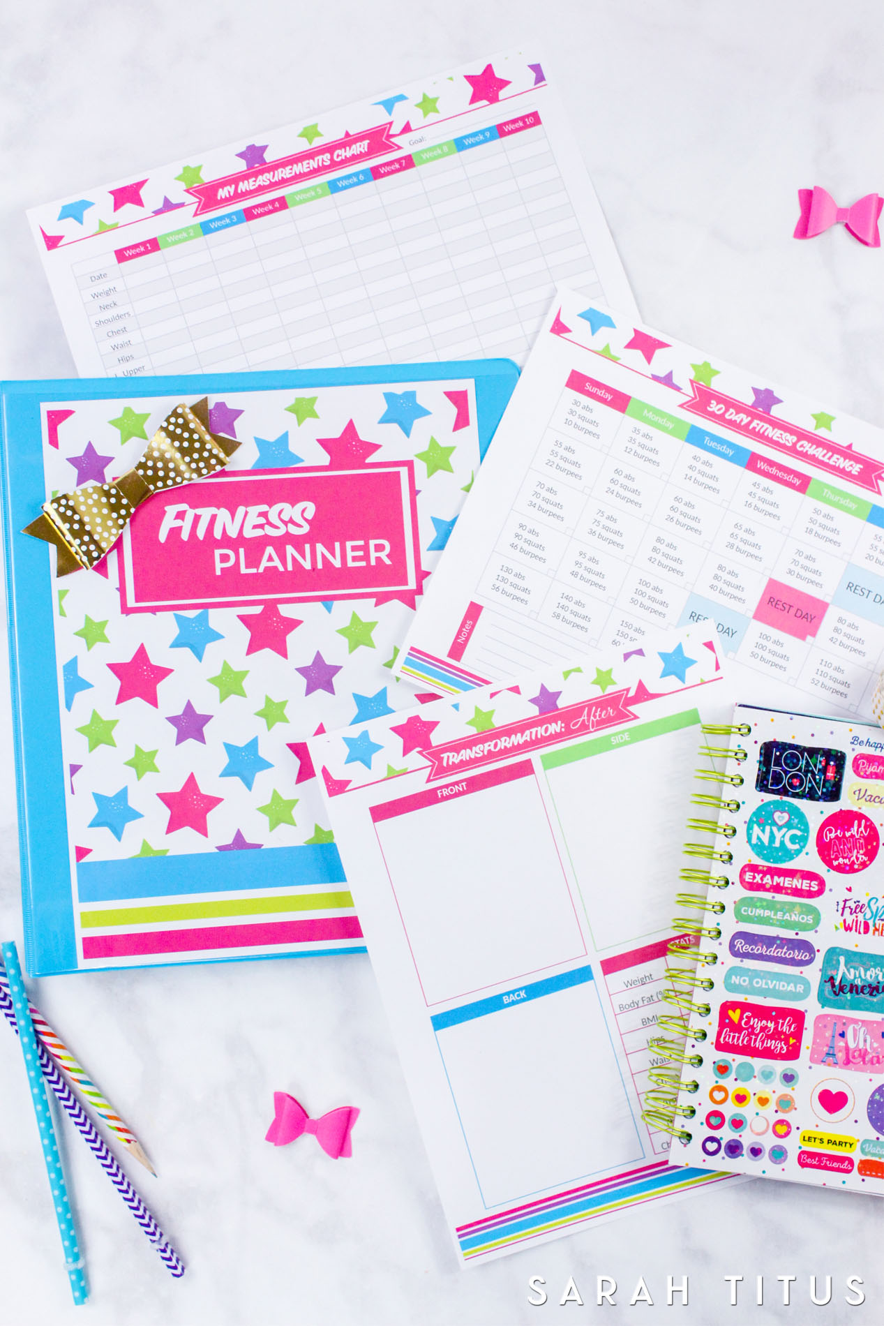 photograph relating to Free Printable Fitness Planner titled Physical fitness Planner - Sarah Titus