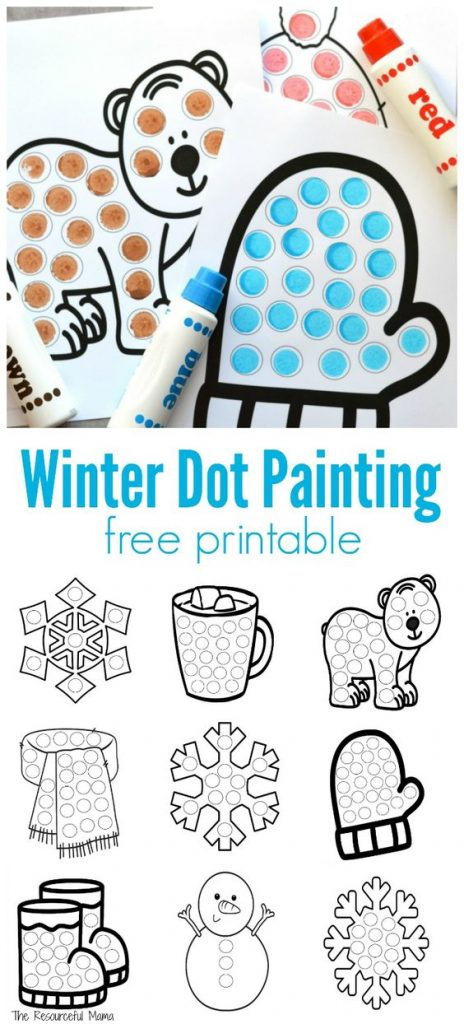 Your kids will love dot painting these cute winter shapes.