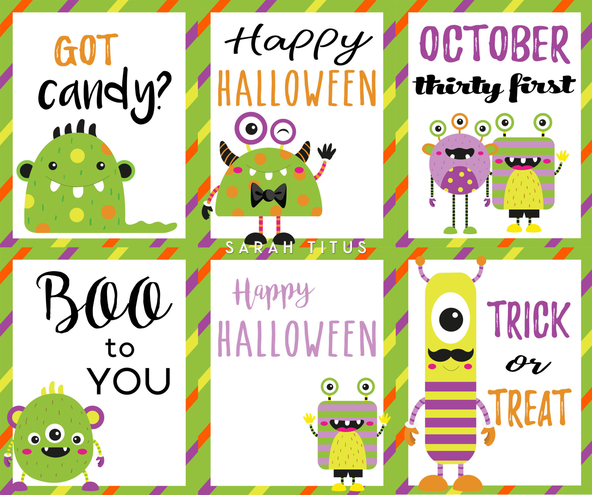graphic relating to Printable Halloween Cards named Halloween Totally free Printable Playing cards - Sarah Titus