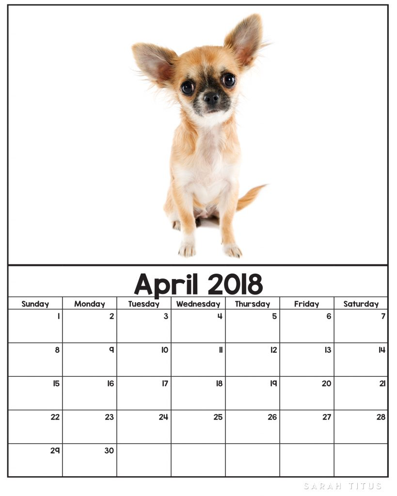 Free Printable 2018 Puppy Calendars! Use them for menu planning, homeschooling, blogging, or just to organize your life.