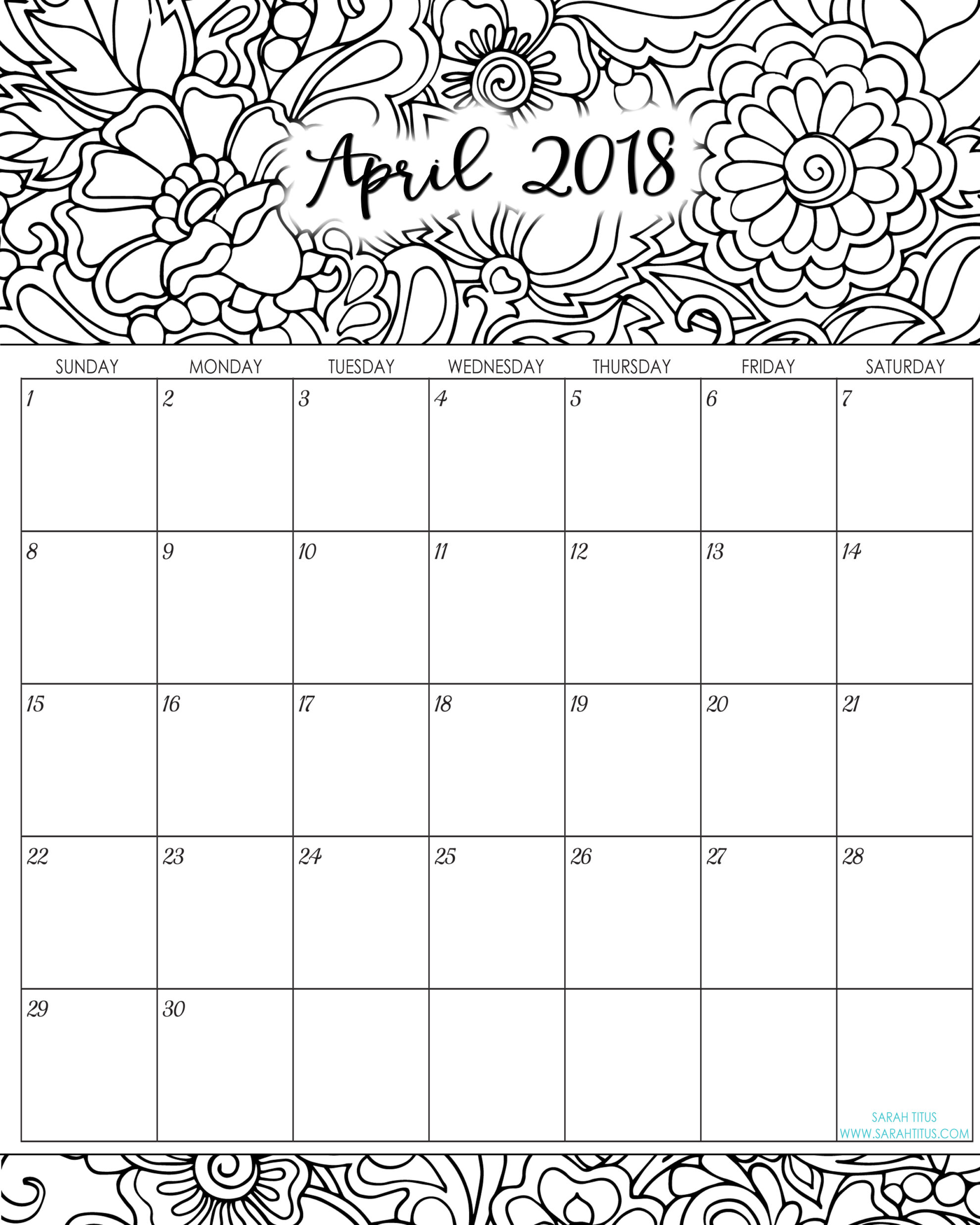 April Calendar Page : Monthly coloring calendars printables sarah titus