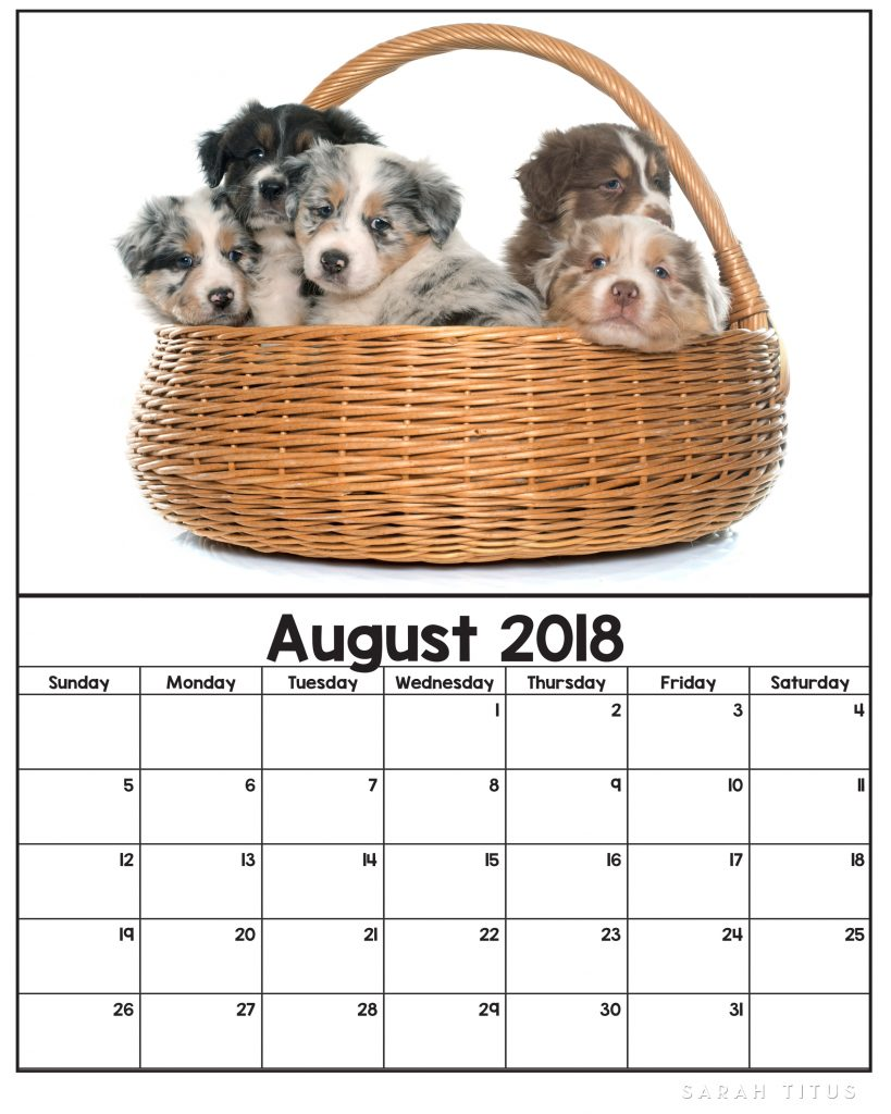 November Calendar Printables : Free printable puppy calendars sarah titus