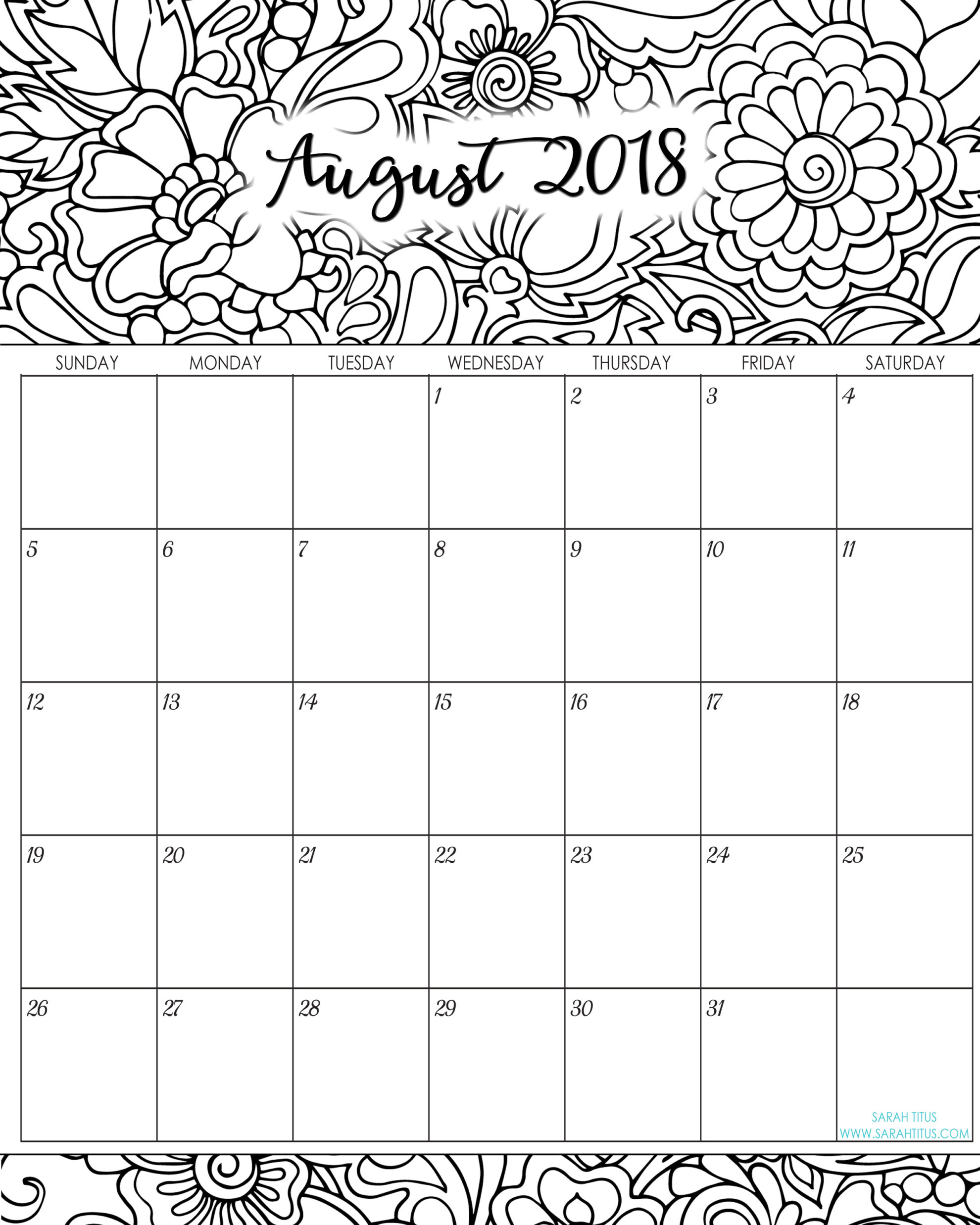 2018 Monthly Coloring Calendars Printables - Sarah Titus
