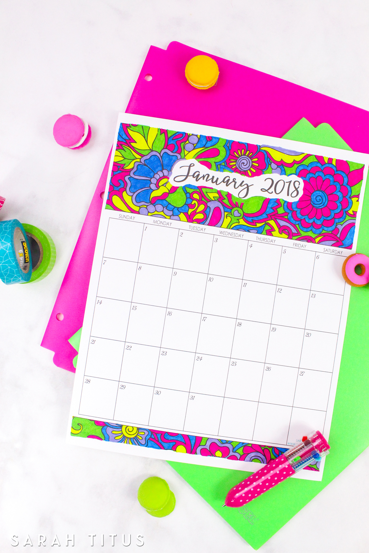 It had just been a stressful week for me. What better thing to color than a calendar! As I was coloring, I found it so relaxing. Before I knew it, my stress had melted away and I was calm. #2018freeprintablecalendars #2018monthlycalendars #2018calendars #freeprintables