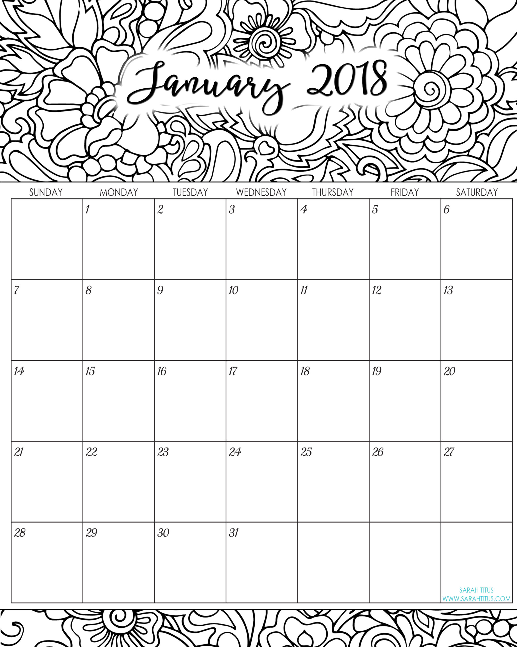 2018 Monthly Coloring Calendars