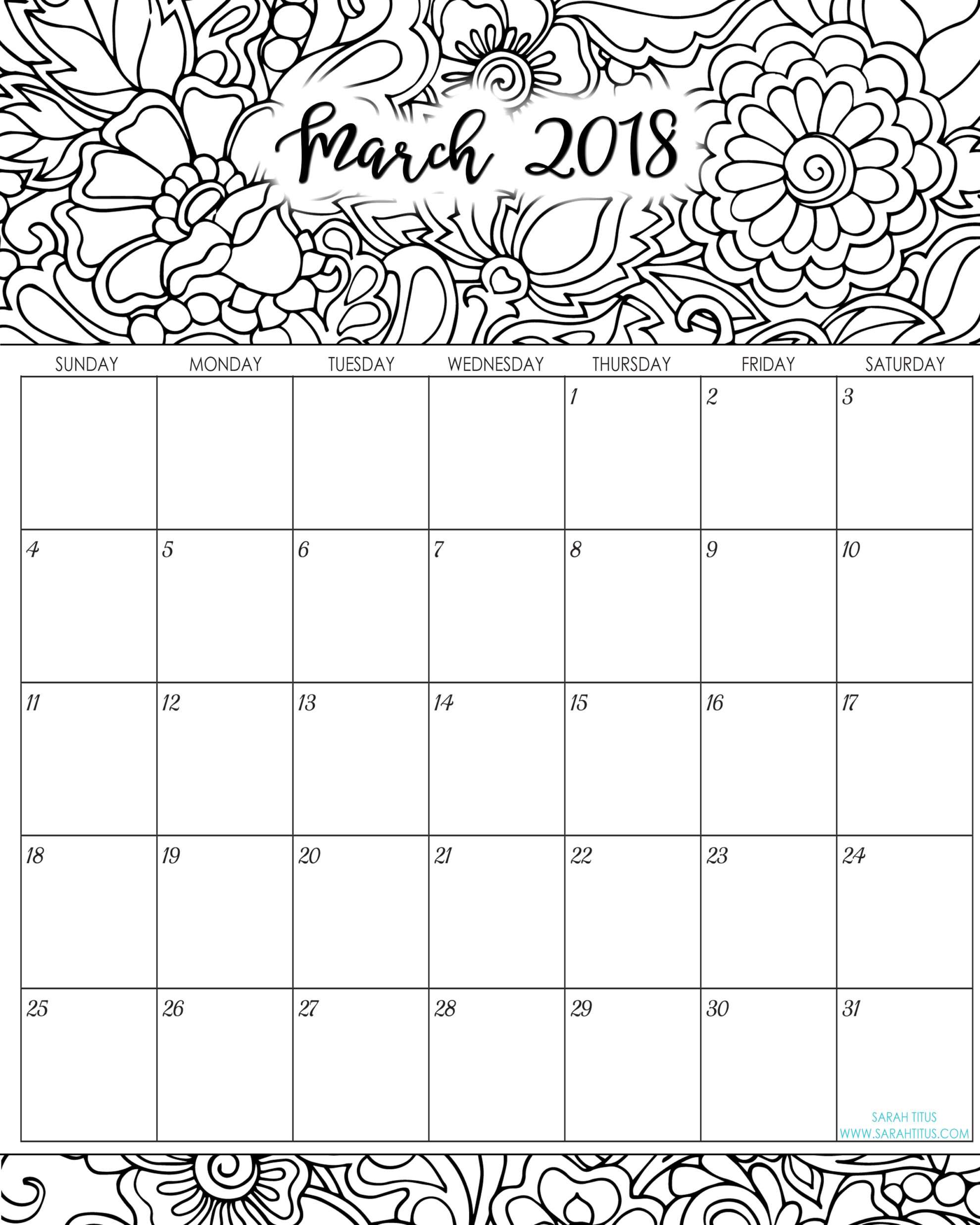 Calendar Pages : Monthly coloring calendars printables sarah titus