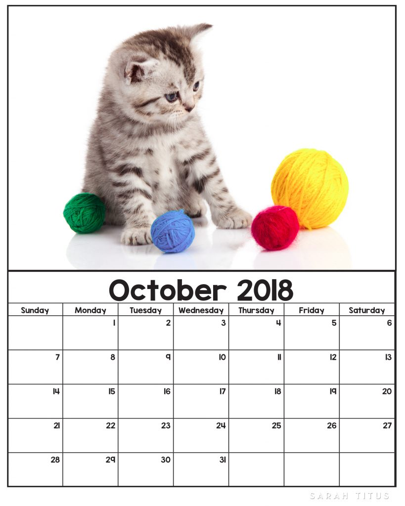 free printable 2018 kitten calendars use them for menu planning homeschooling blogging