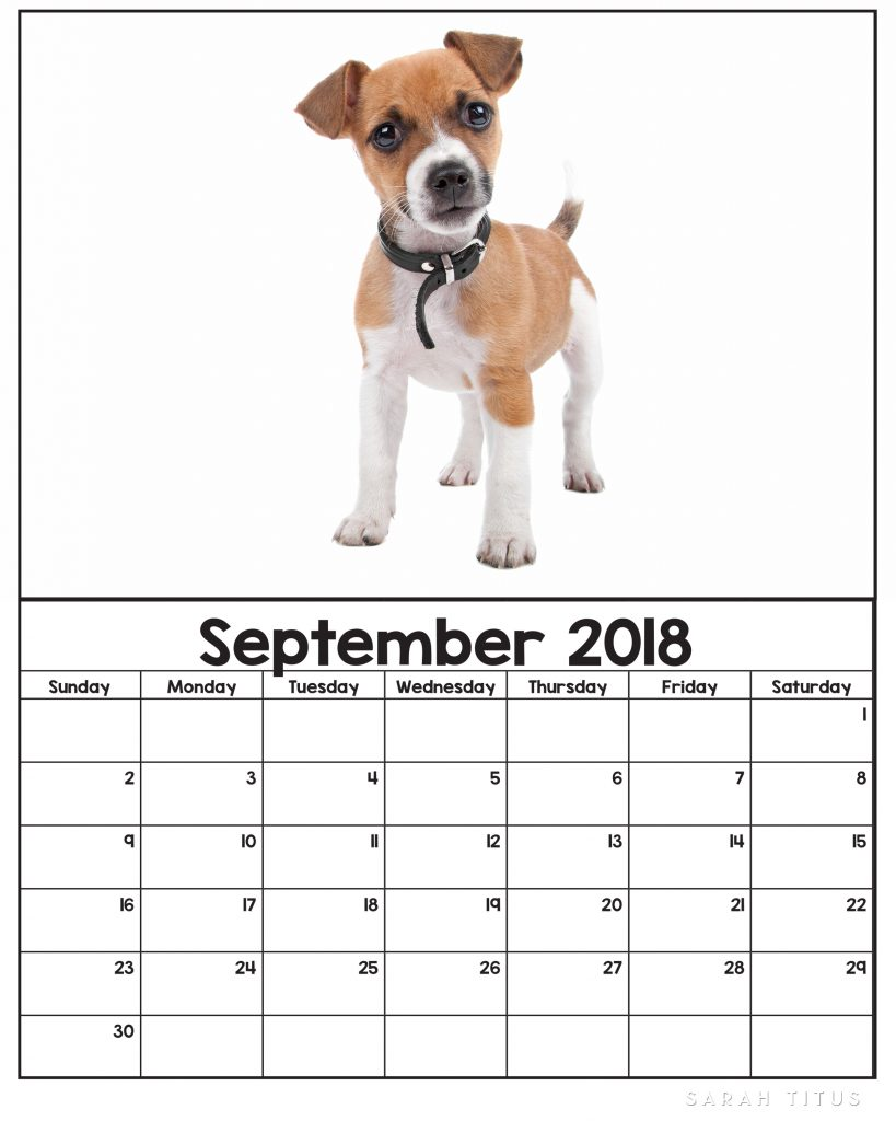 free printable 2018 puppy calendars use them for menu planning homeschooling blogging