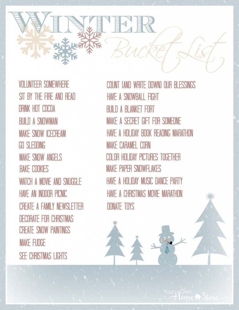 Winter brings a lot of fun! Print out this winter bucket list on don't miss out on anything.