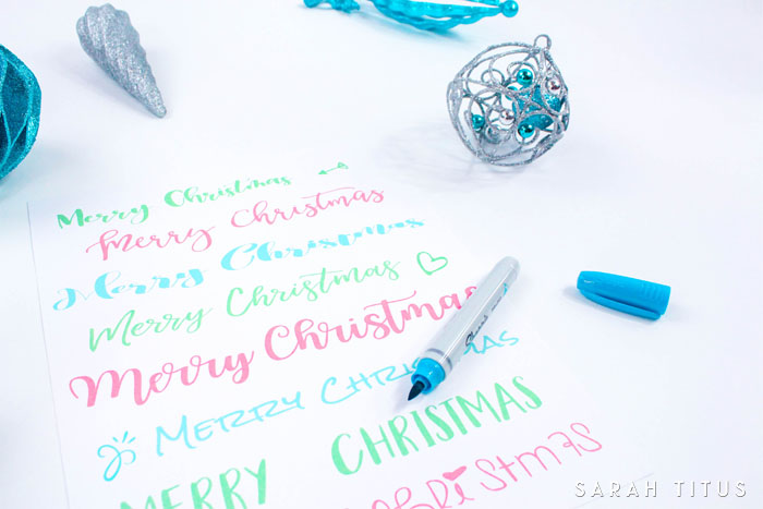 Here's a fun Christmas Handlettering practice sheet. Print it out multiple times. Use different pens. Different colors. Really try different things.