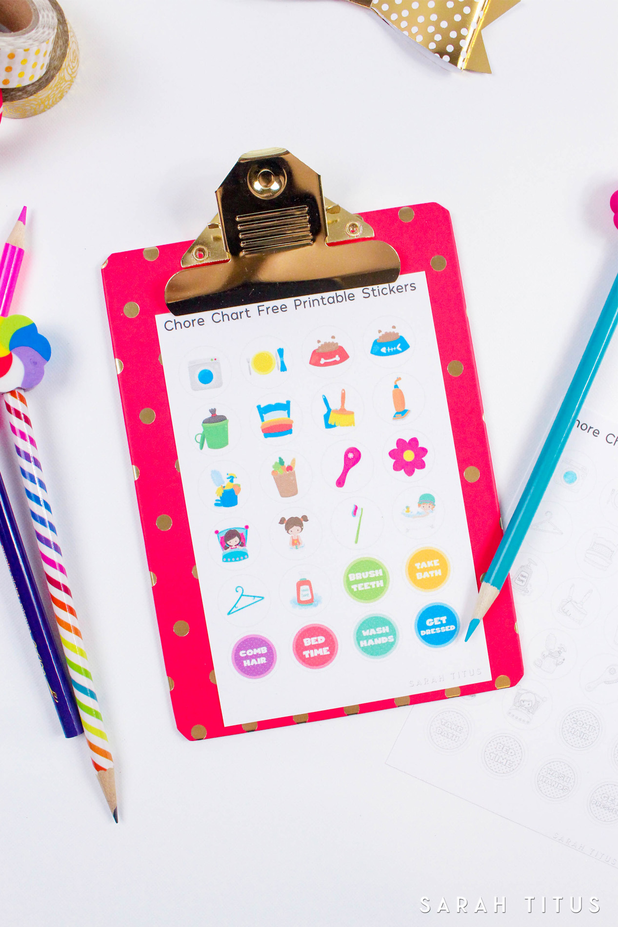 picture regarding Free Printable Stickers identified as Free of charge Printable Chore Chart Stickers - Sarah Titus