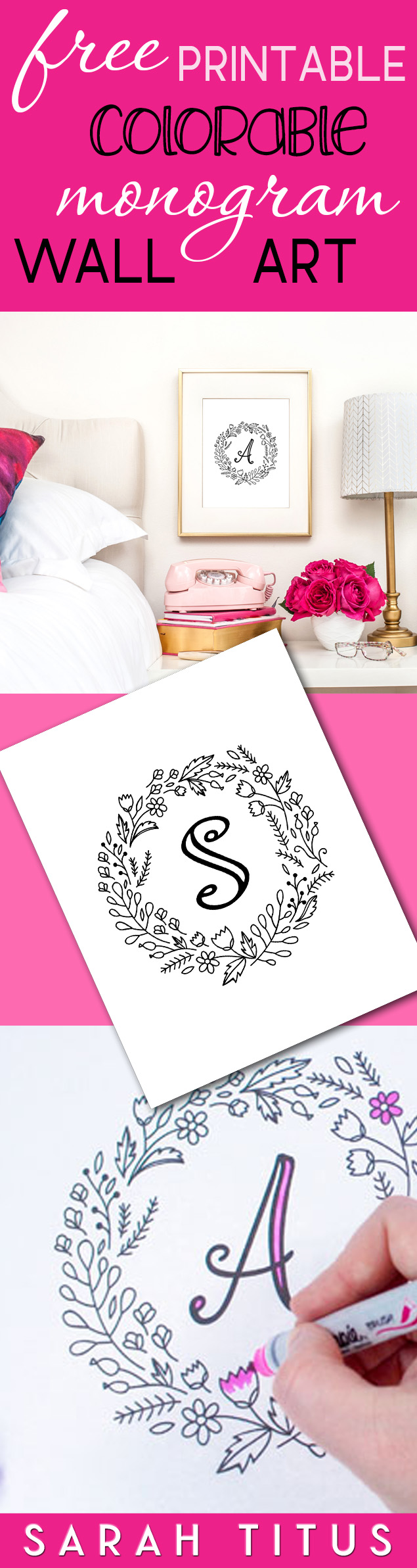 These colorable free printable monogram wall art signs are for you to give them YOUR OWN personal touch! #colorablewallart #monogramwallart #monogram #wallart #freeprintables #freeprintablewallart