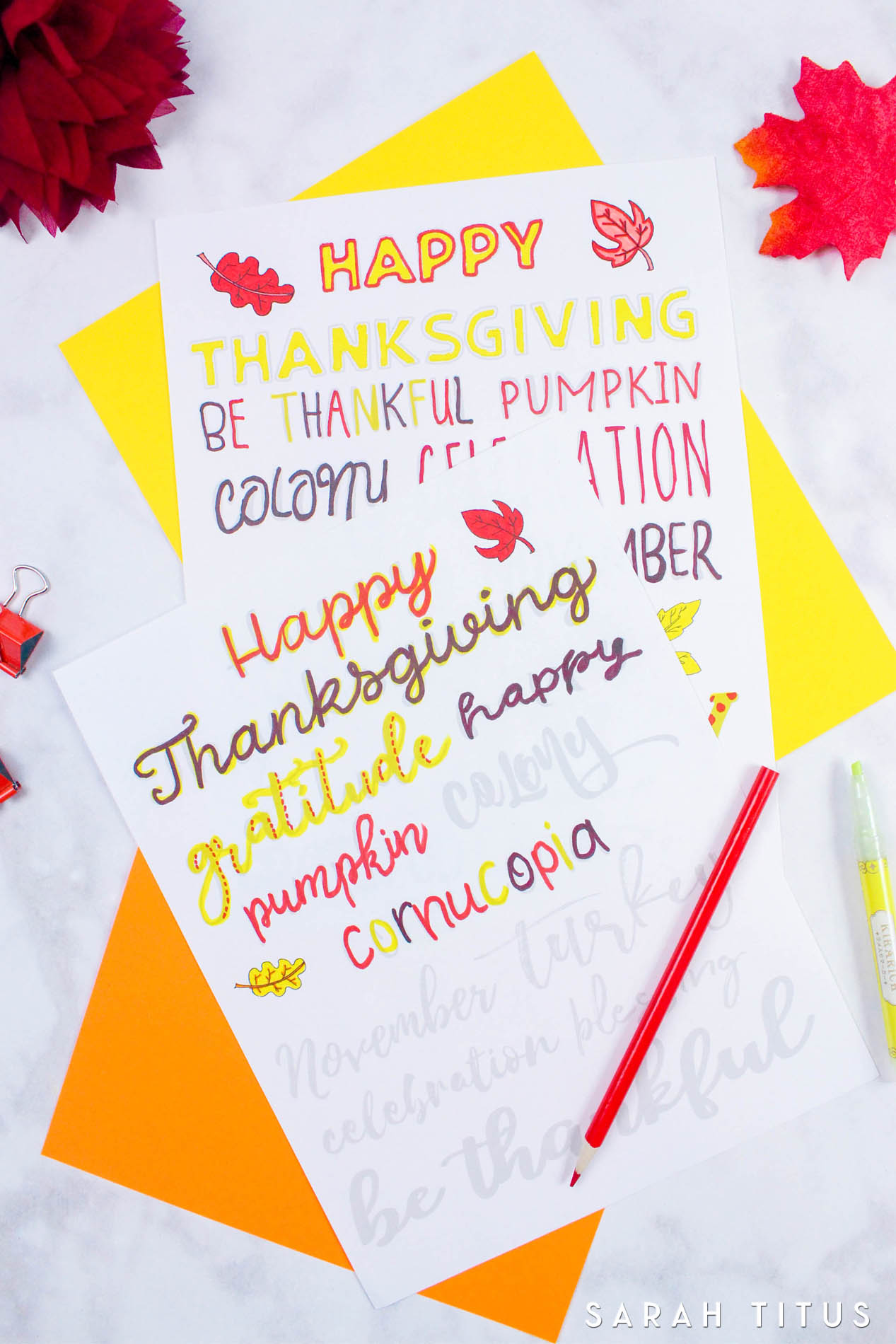 Hand lettering is so much fun but the biggest challenge is often a shaky hand! I created TWO free Thanksgiving handlettering practice sheets- one cursive, one sans!