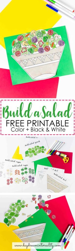 Spring = Veggie season! Make sure you download this printable for your little ones and build a yummy salad with them!