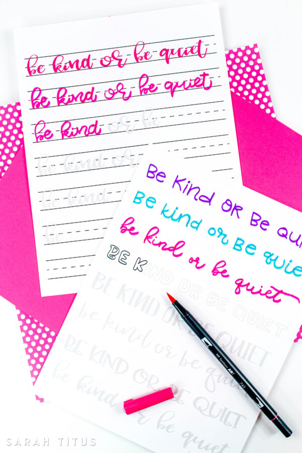 Teach your kids how they should express and talk about others with this super cool Be Kind or Be Quiet Hand Lettering Worksheets! Not only they will learn how to treat others, but they will also practice their handwriting.