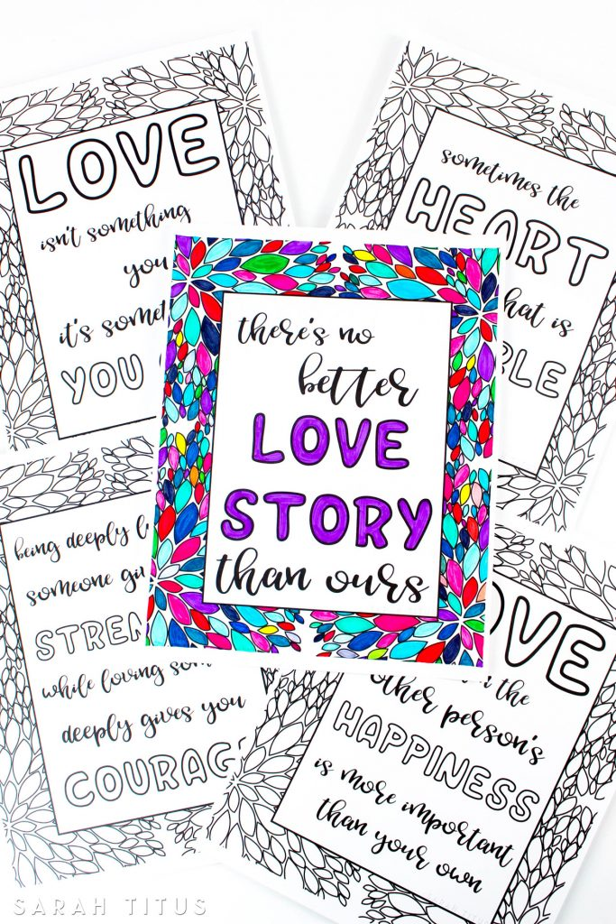 Printable Love Quotes Extraordinary Free Printable Love Quotes Coloring Sheets  Sarah Titus