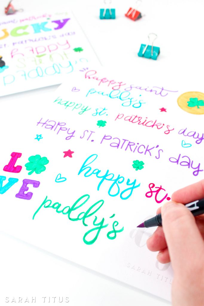 Hand lettering is so much fun but the biggest challenge is often a shaky hand! Join me and practice your skills with these St. Patrick's Day Hand Lettering Practice Sheets.