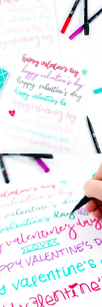 Hand lettering is so much fun but the biggest challenge is often a shaky hand! Join me and practice your skills with this Valentine Free Printable Hand Lettering Worksheet.