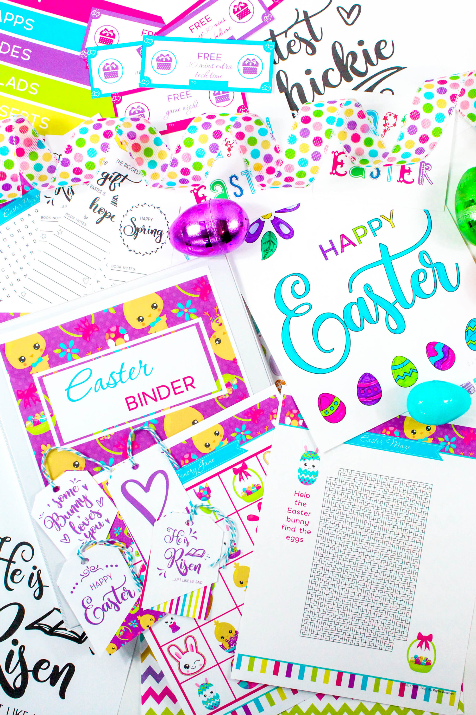 Colorful printables from the Easter binder Series