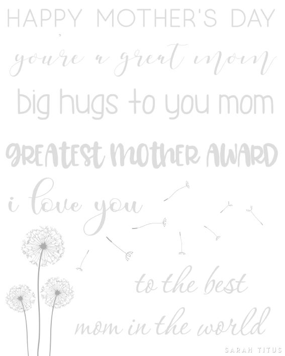 Gray and white image of actual handlettering practice sheet for Mother's Day