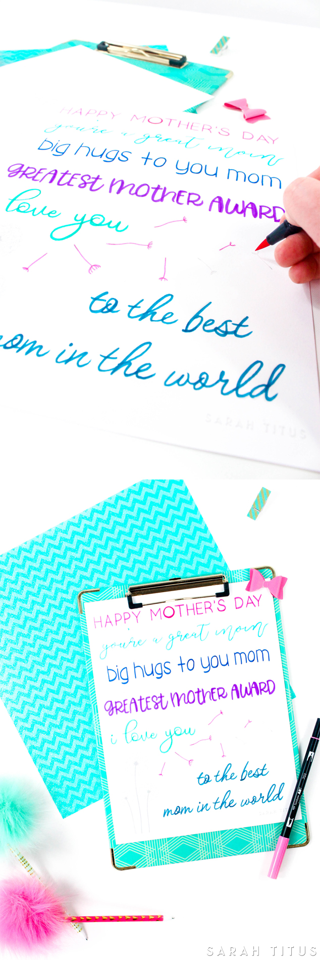 Happy Mother\'s Day Free Hand Lettering Practice Sheet - Sarah Titus