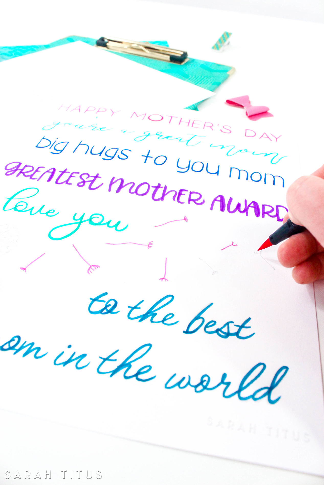 close up colorful blue, pink and purple Mother's Day handlettering printable