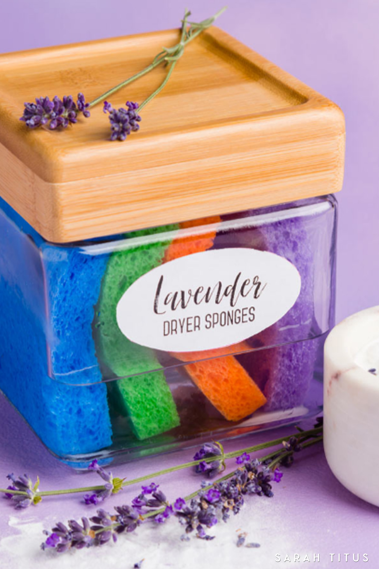 You can make your own lavender essential oil dryer sponges with a few ingredients you already have on hand, and you can save money, and have fresh smelling clothes for pennies! #diyessentialoils #essentialoils