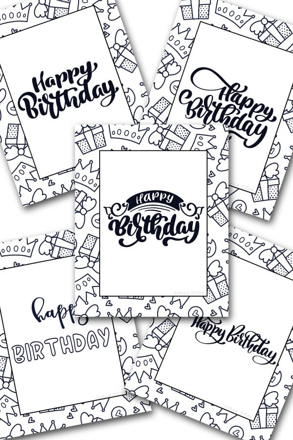 I LOVE to color, don't you?! Here's a set of 5 different Free Printable Happy Birthday Coloring Sheets to color and give as a gift for that next birthday celebration or give to your kids to color on their special day. #happybirthday #birthdayfreeprintables #freeprintable #coloringsheets #freeprintablecoloringsheets