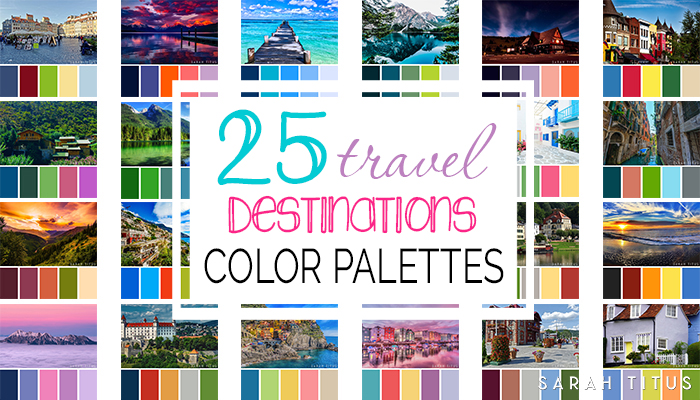 Planning a party, designing a printable, or just want to decorate your home? Get tons of inspiration from these 25Best Travel Destinations Color Palettes! They're so gorgeous they will take your breath away.#colorpalettes #palettes #travelpalettes #colorfulpalettes #colormatch #colorsthatgowelltogether