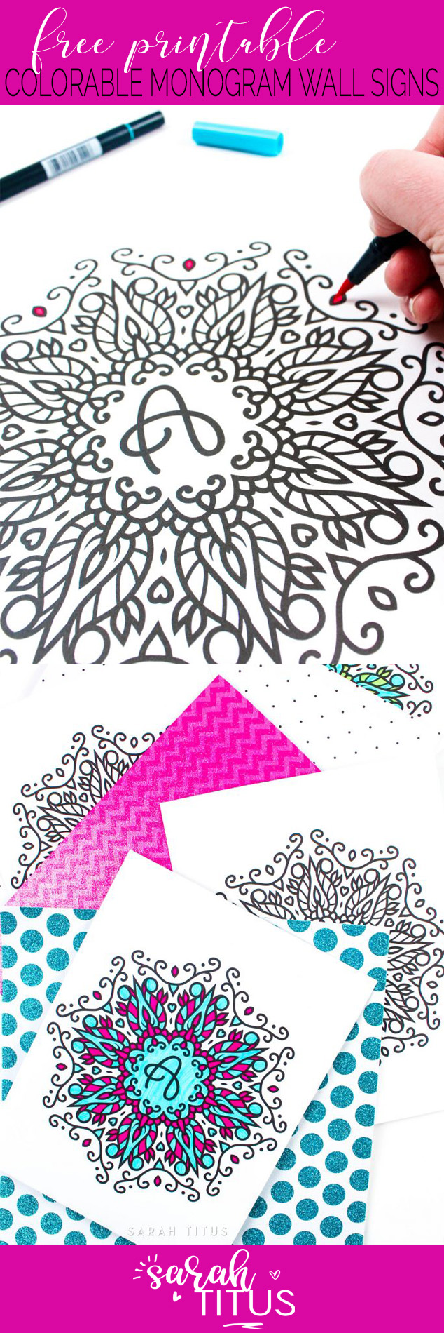 These Free Printable Coloring Monogram Wall Signs are so versatile, you can hang them on the walls of your home, office, or even better you can give them as a present for any occasion like: birthdays, weddings, holidays, etc! #colorable #coloringprintables #freeprintables #monogramwallart #wallartprintables