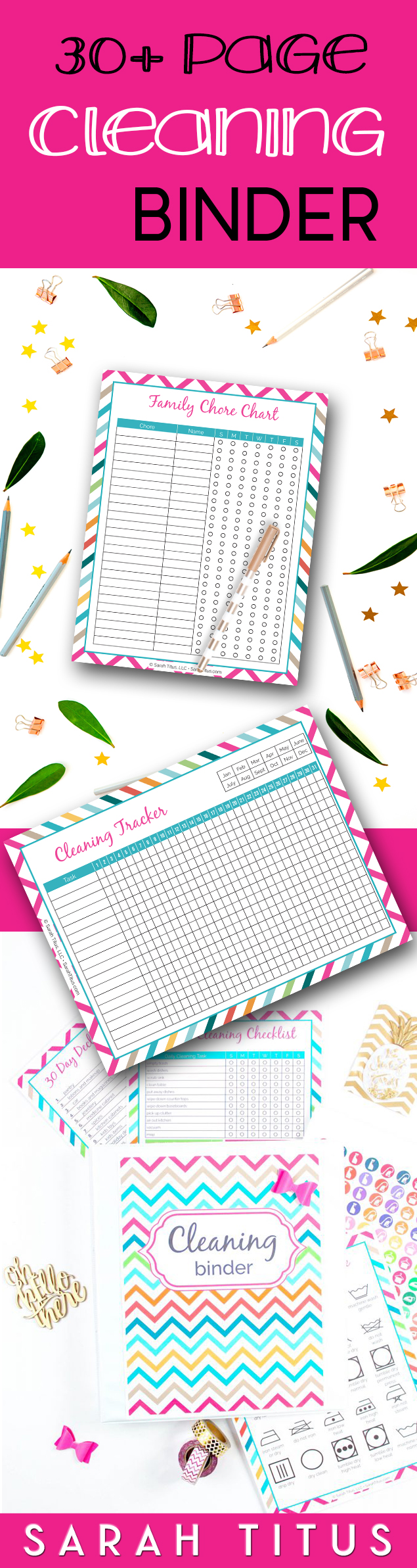 If you're an organization freak like me who just loves having everything all nice and tidy in one spot, this cleaning binder will be your saving grace! #cleaningbinder #cleaningprintables #printables #freeprintables #cleanprintable #chorechart