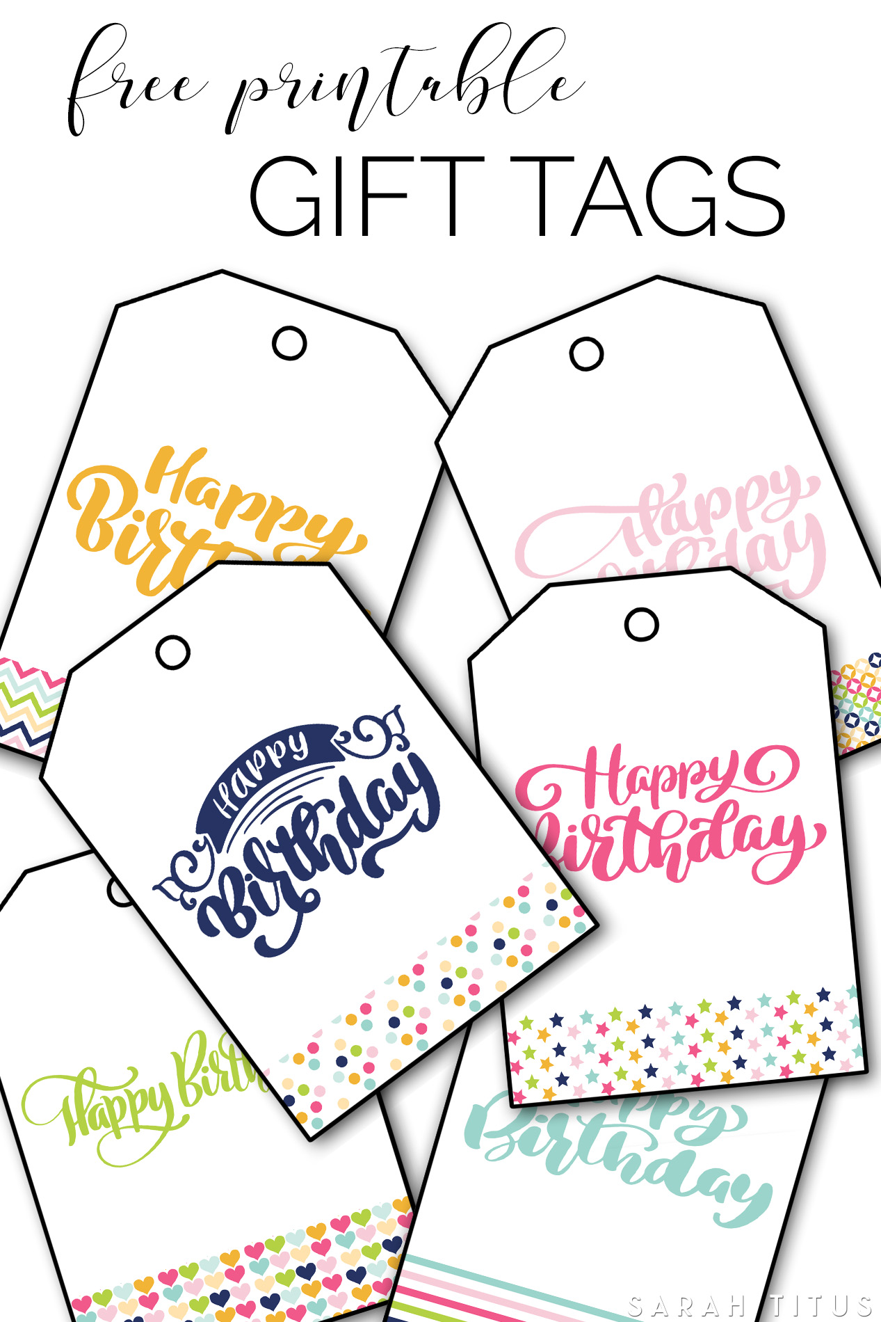 image relating to Birthday Tag Printable called Totally free Printable Delighted Birthday Reward Tags - Sarah Titus