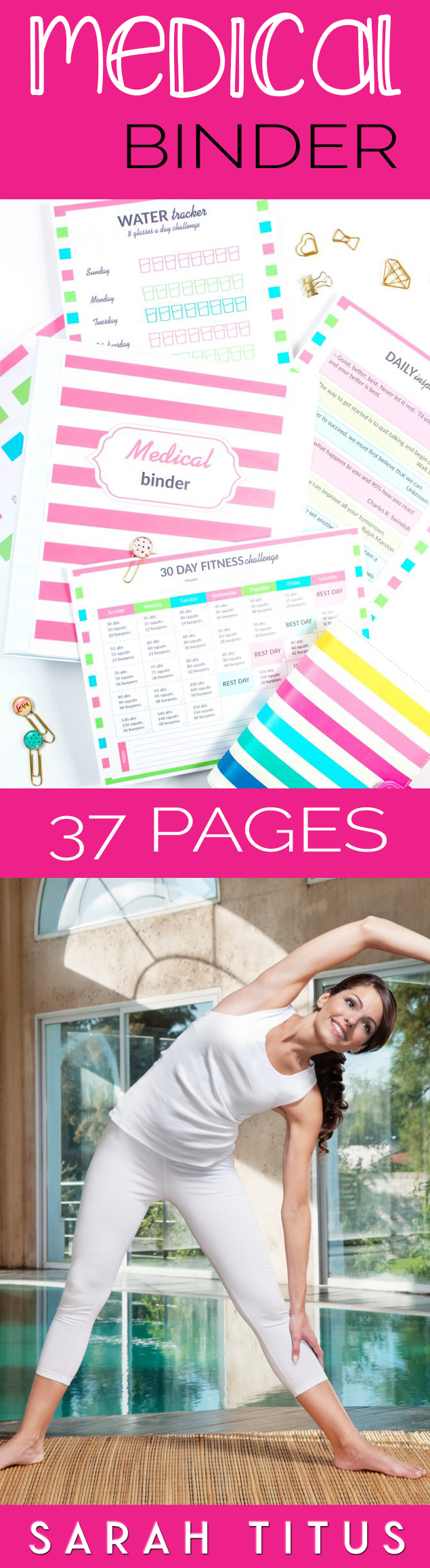 This Medical Binder has EVERYTHING you need with over 40 pages, from medical information, weight loss tracker, personal workout plan, fitness challenge, daily inspiration, family health history, and much, much more! #medicalbinder #freebinderprintables #freeprintables #medicalprintables