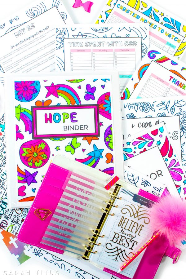 Hope is what ultimately gets us out of bed in the morning and without hope, we are nothing and we have nothing. This FREE (for limited time) Hope Coloring Binder, a Christian Devotions for Women will help you color through your day and give you the inspiration and encouragement you need to face another day! #devotionsforwomen #Christiandevotionals #hopebinder #binderssarahtitus