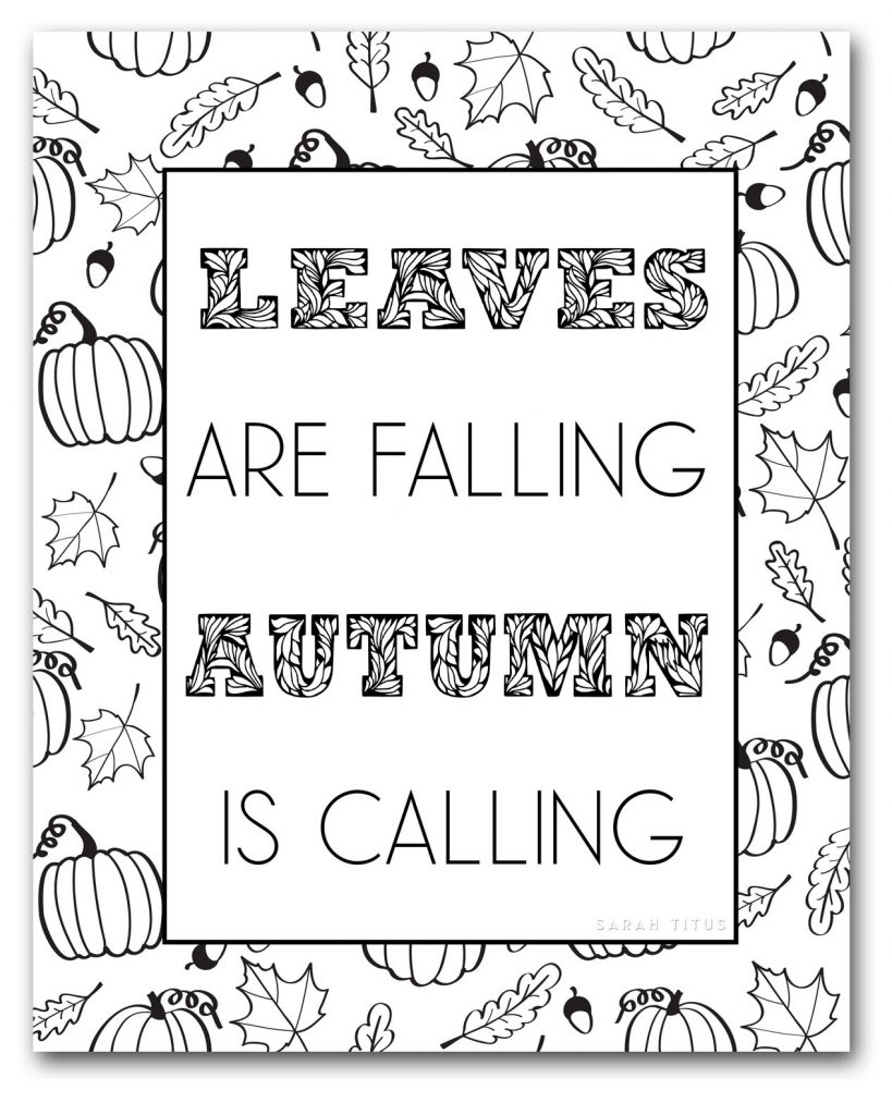 Free Fall Coloring Pages to Color