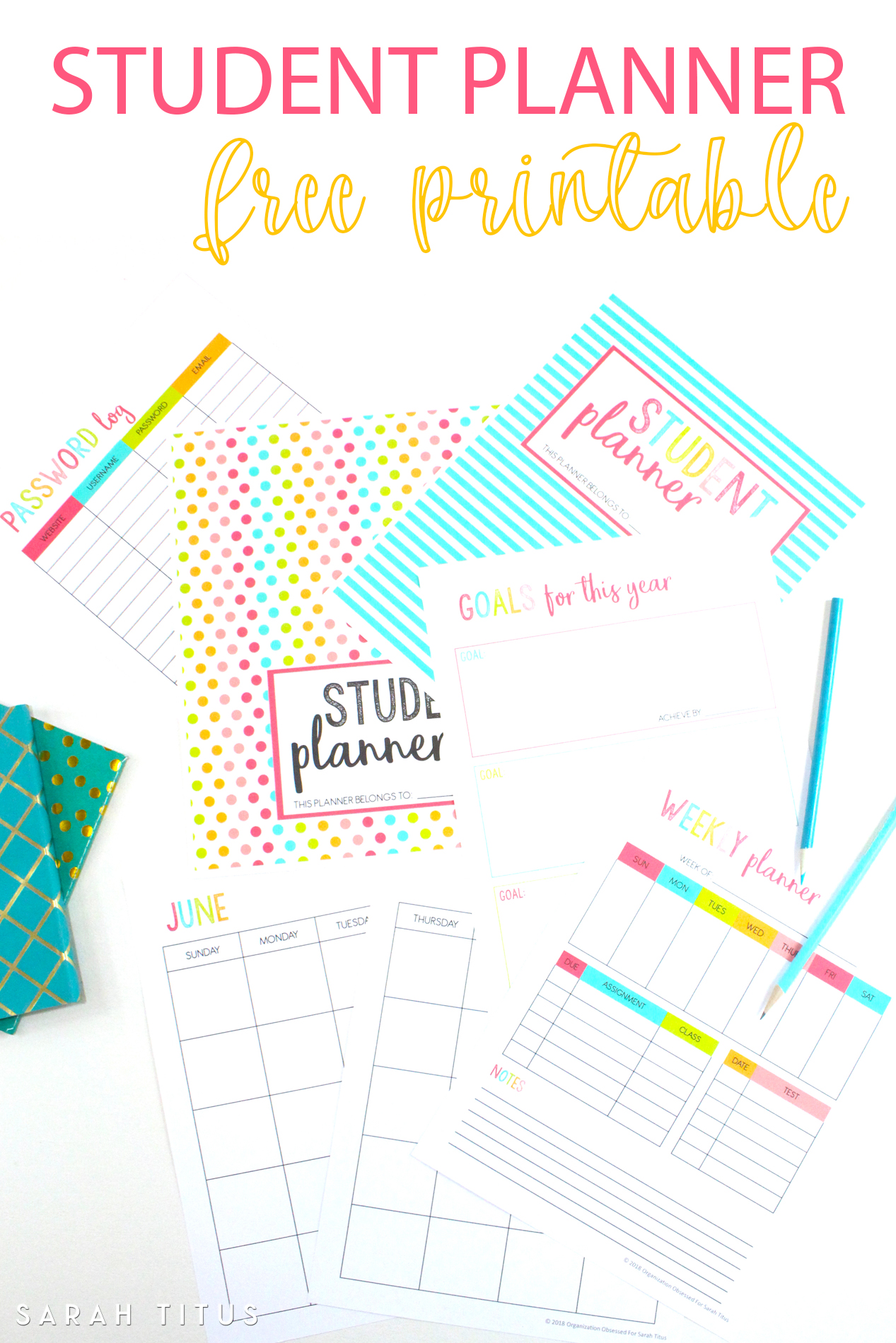 picture relating to Student Planner Printable referred to as Absolutely free Printable University student Planner 46 internet pages - Sarah Titus