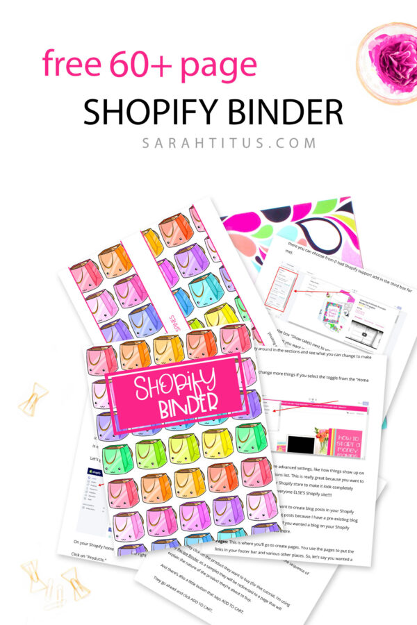Do you want to make a great living from home doing something creative that you truly enjoy? Now, you can!!! This 60+ page Shopify Binder is your ticket to the good life. Backed with 21 years online store experience, Sarah Titus is completely turning the world upside down in ecommerce and you can too! #shopify #shopifybinder #sarahtitus #shopifytraining #shopifycoaching #freeprintbles #onlinestore #onlineshop #woocommerceshopify