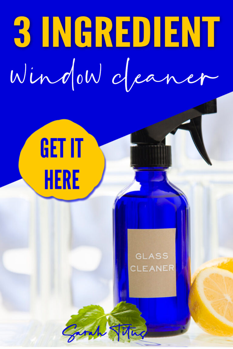 This 3 ingredient homemade window cleaner not only gives you a streak free shine on glass, you probably already have the ingredients in your home right now! #vinegar #water #essentialoils