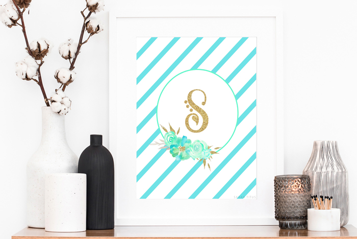 You don't have to be rich to have nice stuff. This gorgeous teal & gold monogram wall art set is perfect for school binders, frame and give as gifts or hang on your wall. However you use them, you can have some beautiful AND FREE DIY room decor in the snap of your fingers!!!