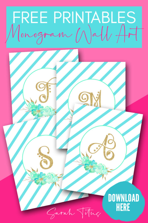 photo relating to Free Printable Monogram referred to as Printables Monogram Wall Artwork Archives - Sarah Titus