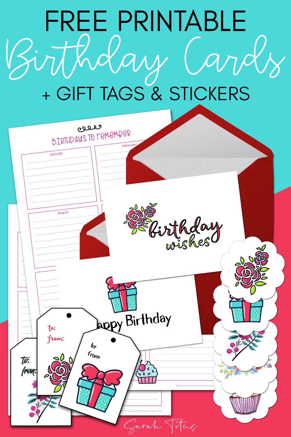 photograph regarding Free Printable Birthday Cards for Adults called Totally free Printable Birthday Playing cards + Reward Tags Stickers - Sarah