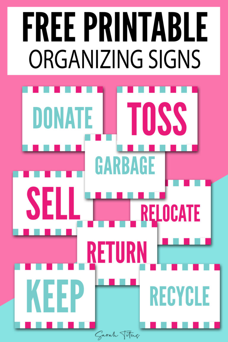 Desperately want to declutter, but need help? These free printable organization signs will guide you through the process! #freeprintabledeclutteringsigns #decluttersigns #labels