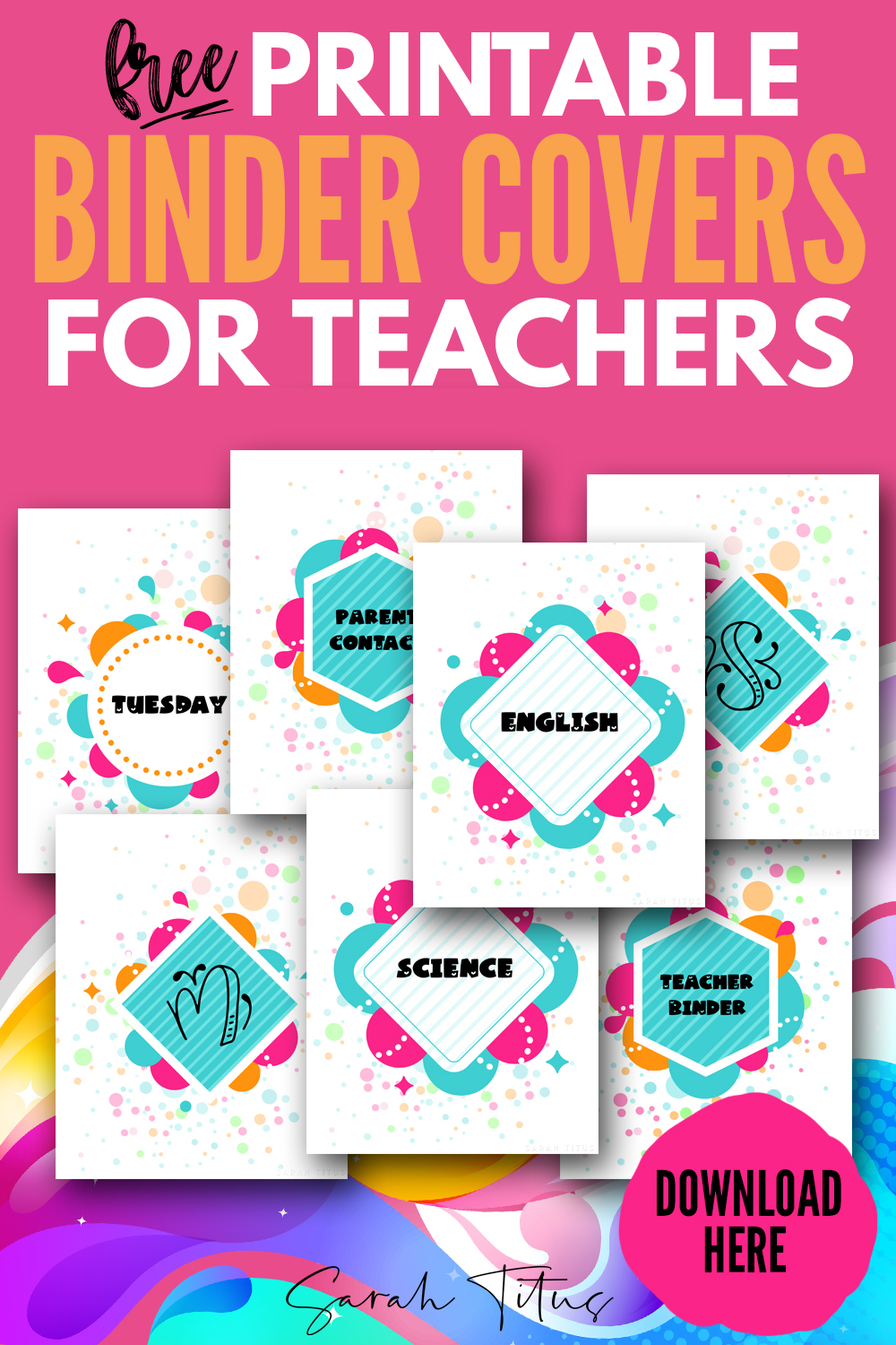 Free Printable Binder Covers For Teachers To Organize Students Sarah Titus From Homeless To 8 Figures