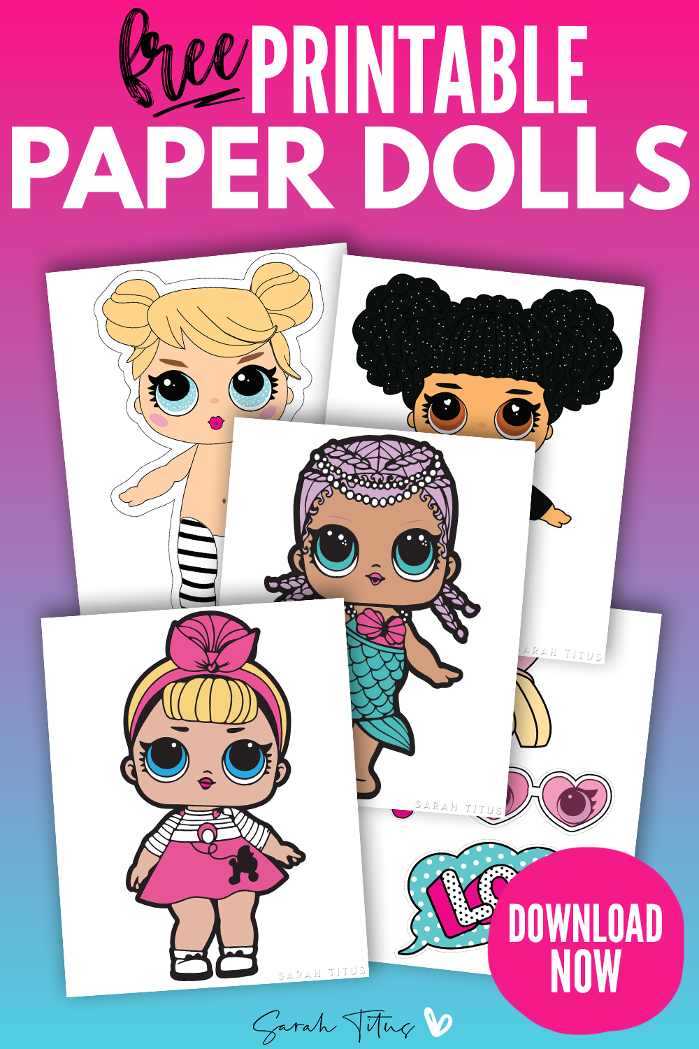- Cute Paper Dolls Printable Free For Kids - Sarah Titus From